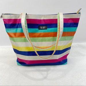 Kate Spade multi colored striped tote